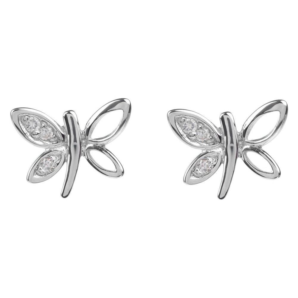 1/10 CT. T.W. Round-cut CZ Dragonfly Stud Pave Set Earrings in Sterling Silver - Silver, Girl's