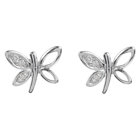 1/10 CT. T.W. Round-cut CZ Dragonfly Stud Pave Set Earrings in Sterling Silver - Silver - image 1 of 2