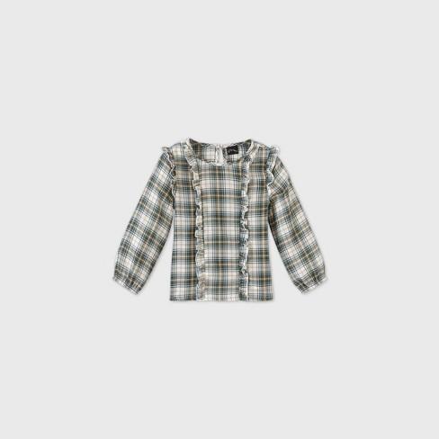 Toddler Girls' Plaid Ruffle Long Sleeve Blouse - art class™ Green - image 1 of 2