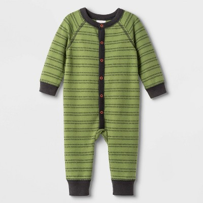 Baby Boys' Elevated Long Sleeve Romper - Cat & Jack™ Green 0-3M