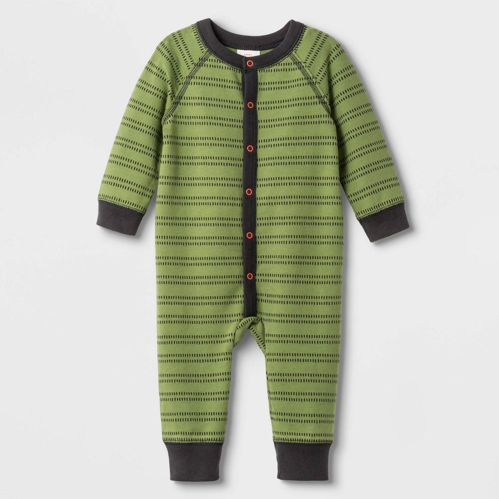 Image of Baby Boys' 2pk Elevated Long Sleeve Romper - Cat & Jack Green 0-3M, Boy's
