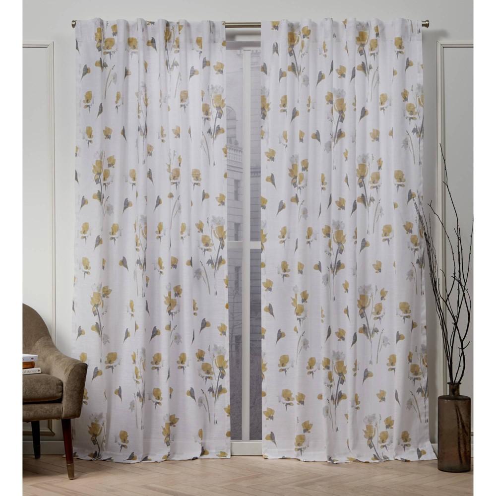 "Image of ""50""""x108"""" La Petite Fleur Back Tab Light Filtering Window Curtain Panels Gold - Nicole Miller"""