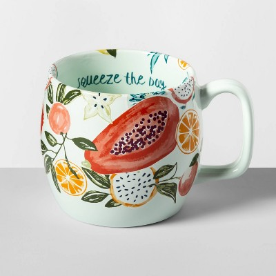 16oz Stoneware Squeeze The Day Kira Mug Green - Opalhouse™