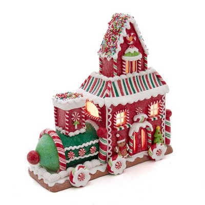 "Kurt Adler 10.5"" Gingerbread Train House with LED Lights"
