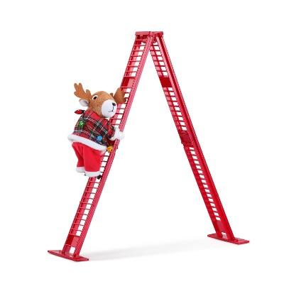 "Mr. Christmas Climbing Reindeer on Ladder Animated Musical Christmas Decoration - 17"""
