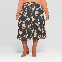 Women's Plus Size Floral Pleated Skirt - A New Day™ Green