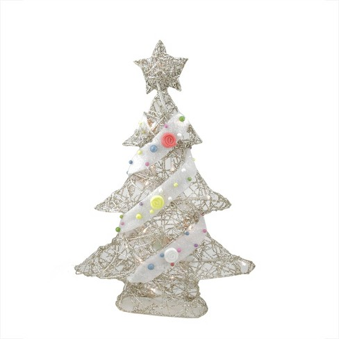 Northlight 22 Pre Lit Champagne Gold Glittered Rattan Candy Covered Christmas Tree Table Top Decoration