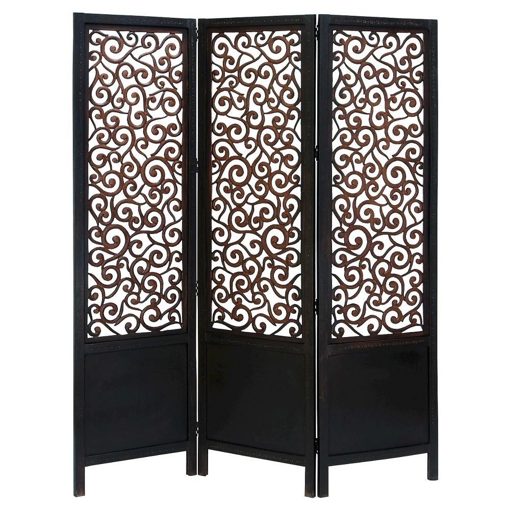 3-Panel Wooden Screen Room Dividers - Benzara, Black