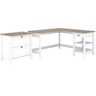 Bush Furniture L-Shaped Computer Desk w/2-Drawer Lateral File Cabinet
