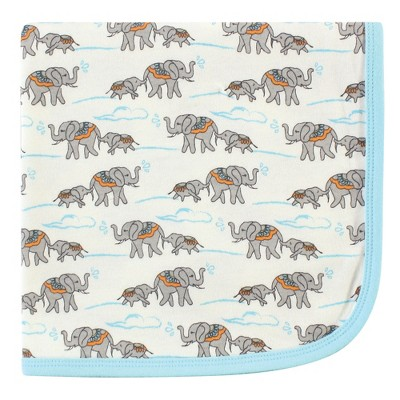 Touched by Nature Baby Organic Cotton Swaddle, Receiving and Multi-purpose Blanket, Elephant, One Size