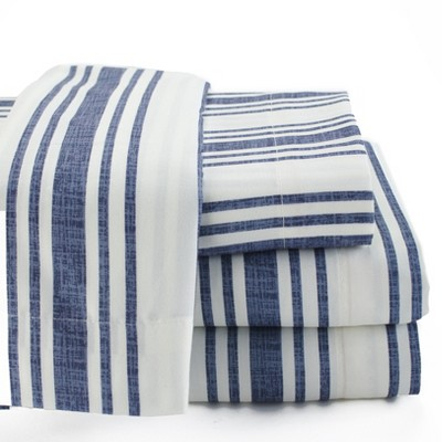 Lakeside Striped Farmhouse Bed Sheet Set with Pillowcases - 4 Pieces