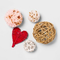 Unscented Rattan Hearts and Pom Poms Vase Filler Red/White  - Opalhouse™