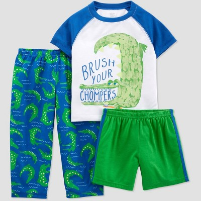 Toddler Boys' 3pc Poly Alligator Pajama Set - Just One You® made by carter's White/Green 2T