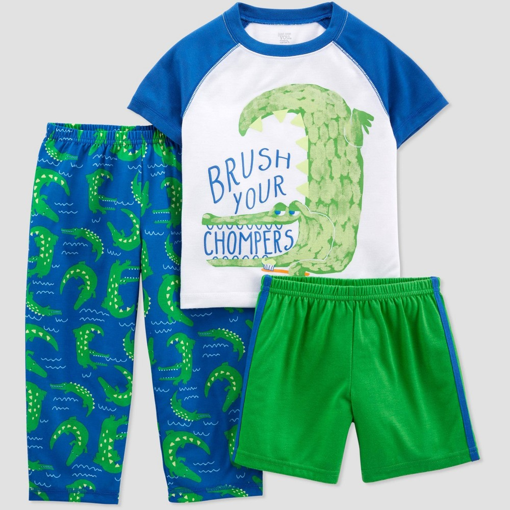 Toddler Boys' 3pc Poly Alligator Pajama Set - Just One You made by carter's White/Green 5T