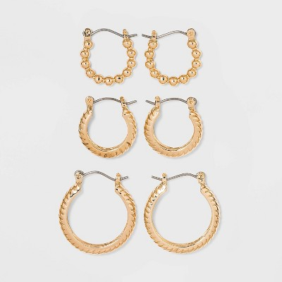 Multi Textured Hoop Trio Earrings - A New Day™ Gold