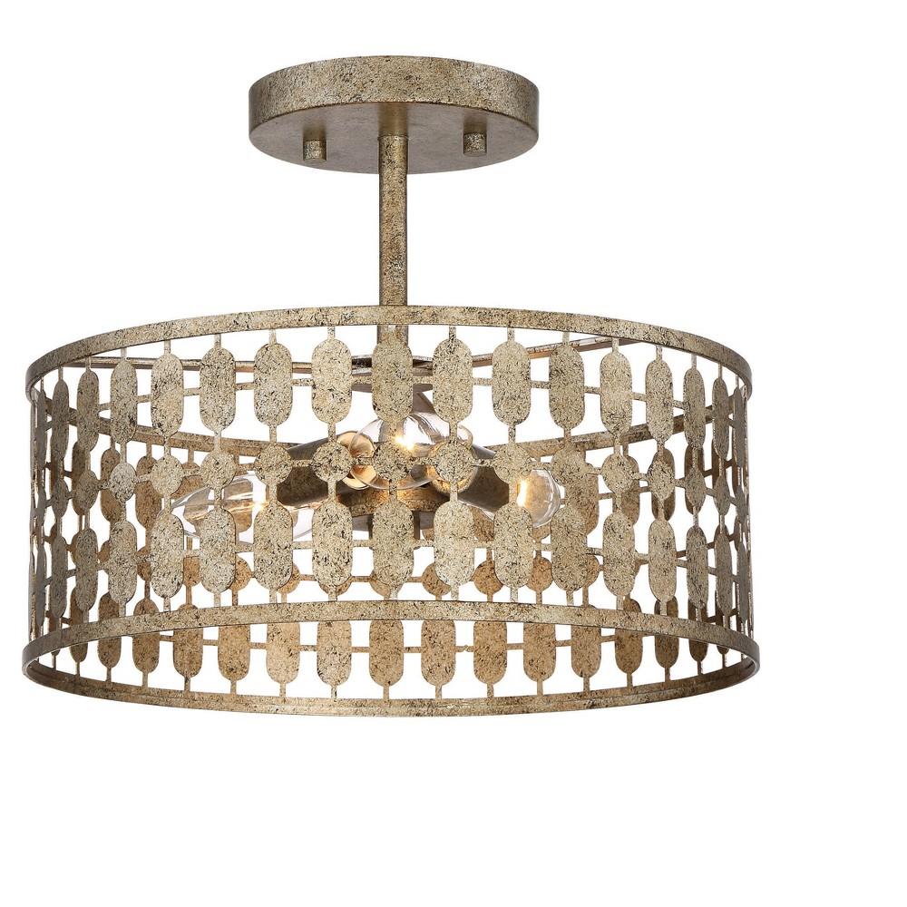 Image of Antique Gold Semi Flush Ceiling Lights (Set of 3) - Filament Design