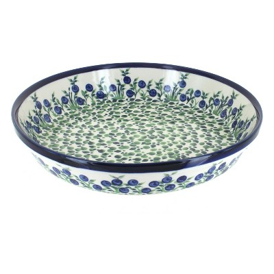 Blue Rose Polish Pottery Porcelain Vine Pie Plate