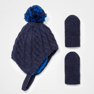 Baby Boys' Cable Knit Beanie with Magic Mittens - Cat & Jack™ Navy 3-6M