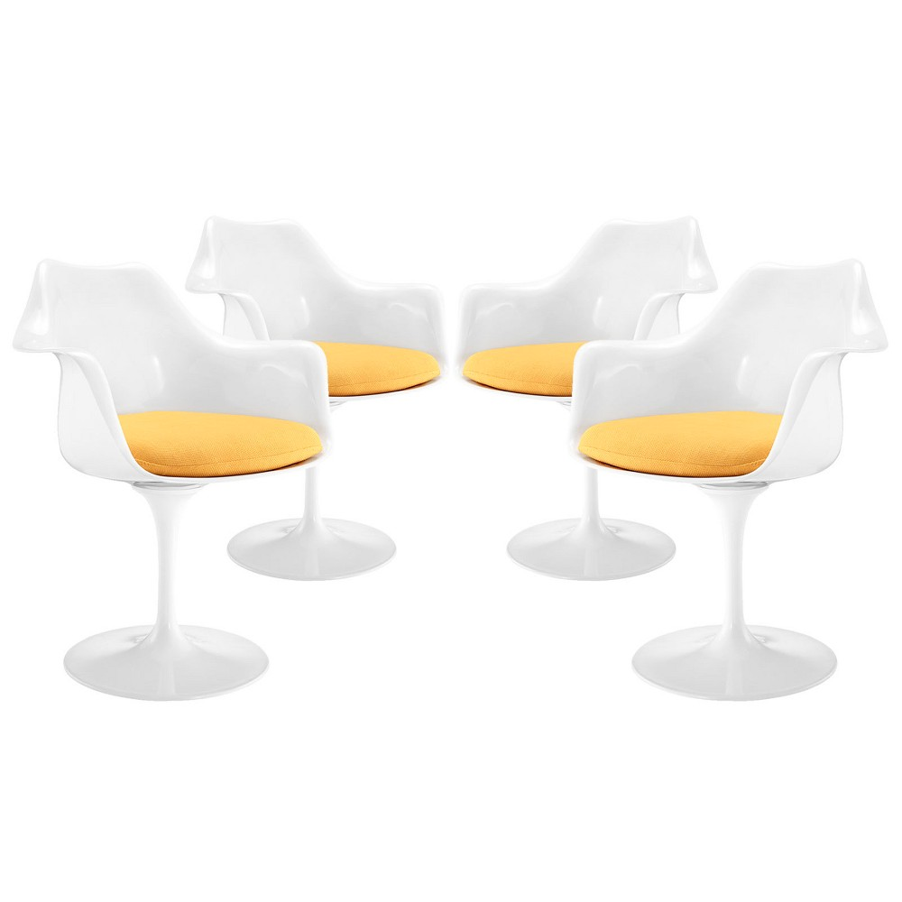 Awe Inspiring Lippa Dining Armchair Set Of 4 Yellow Modway Creativecarmelina Interior Chair Design Creativecarmelinacom