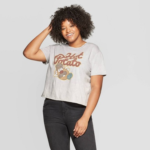 Women's Mr. Potato Head Plus Size Short Sleeve Cropped Graphic T-Shirt (Juniors') - Light Gray Wash - image 1 of 2