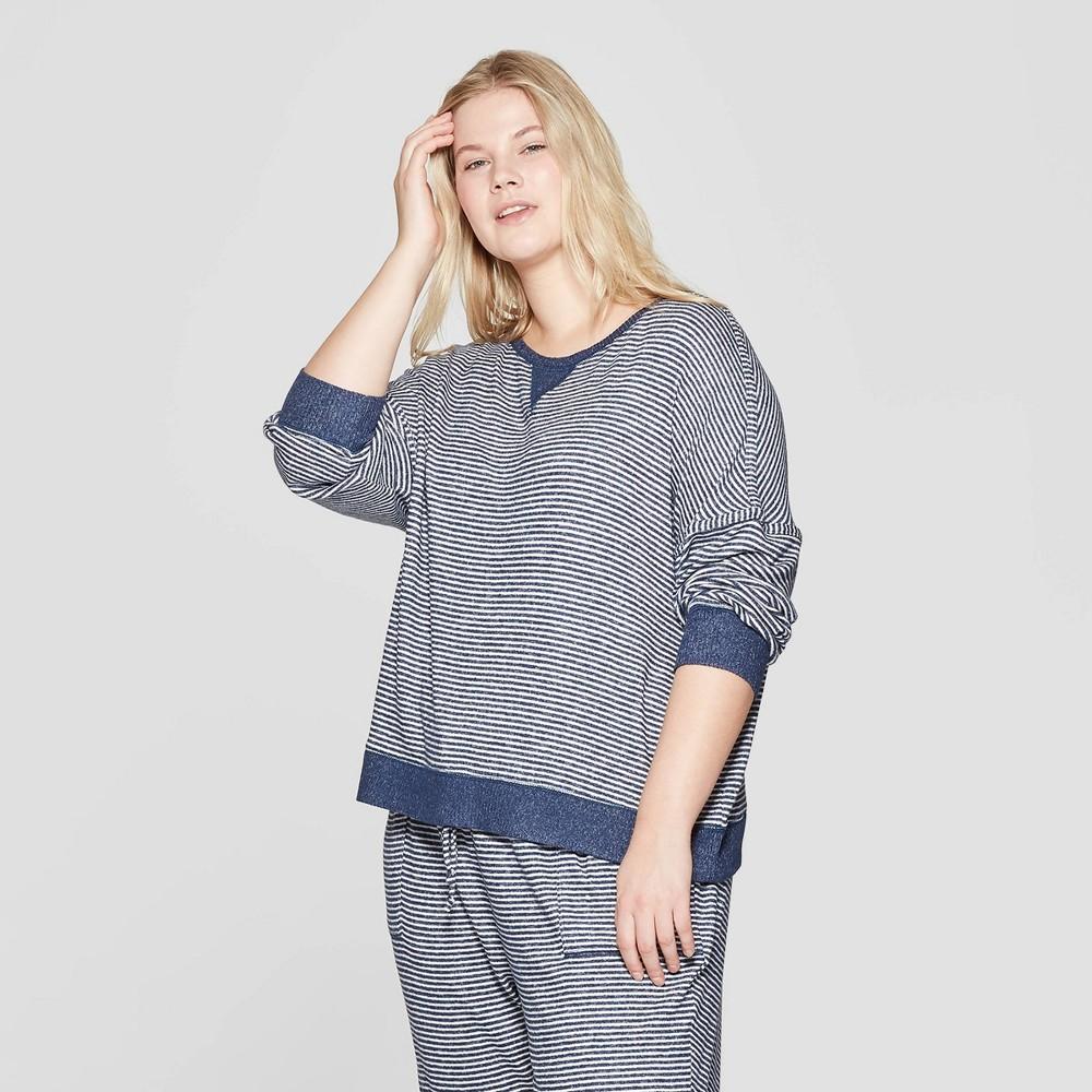 Women's Plus Size Striped Perfectly Cozy Lounge Sweatshirt - Stars Above Navy 2X, Blue