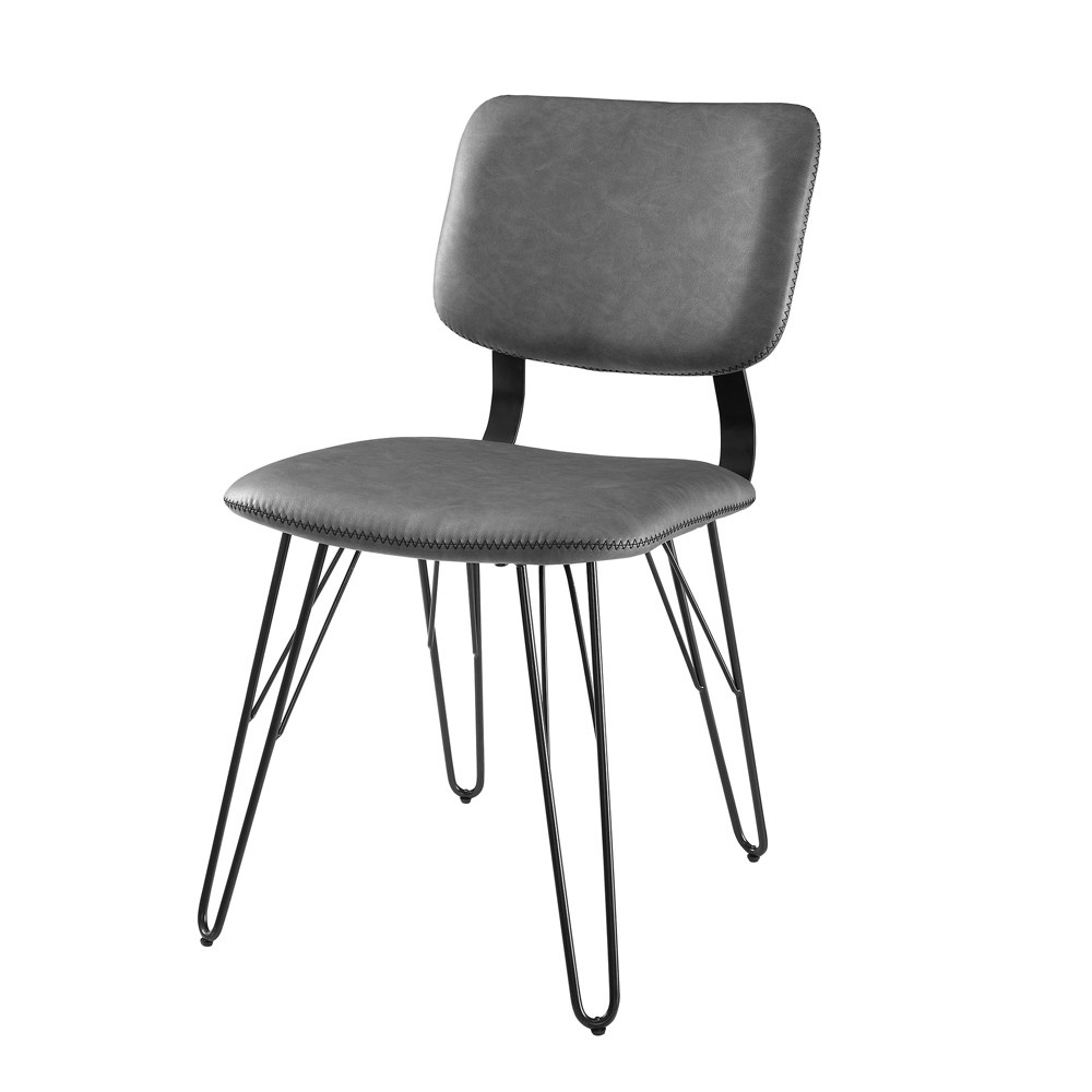 2pk Flex Back Accent Dining Chair with Black Stitching Gray - Saracina Home