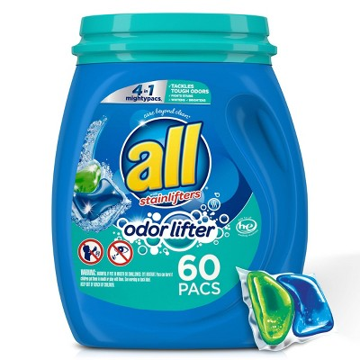 All Mighty Pacs 4-in-1 with Odor Lifter Laundry Detergent Pacs - 60ct
