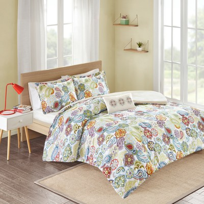 White/Blue/Green Tula Duvet Cover Set King 4pc
