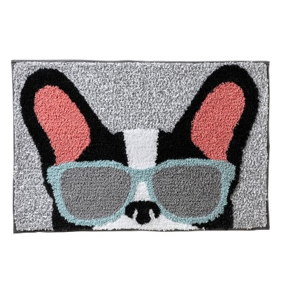 """20""""x30"""" Frenchie with Glasses Bath Rug Gray - SKL Home"""