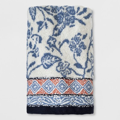 Woven Floral Striped Hand Towel Sour Cream - Threshold™
