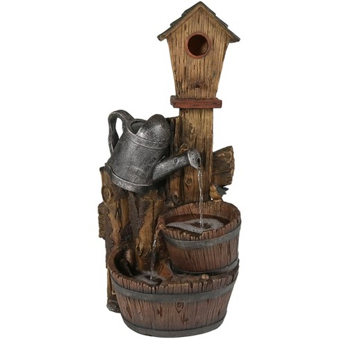 "31""H Polyresin Rustic Birdhouse and Garden Watering Can Outdoor Water Fountain - Sunnydaze Decor - image 1 of 4"