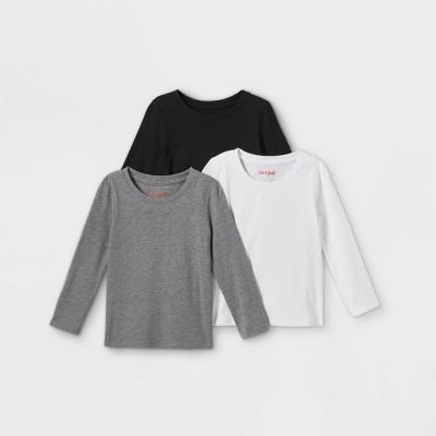 Toddler Girls' 3pk Solid Long Sleeve T-Shirt - Cat & Jack™ White/Black/Gray