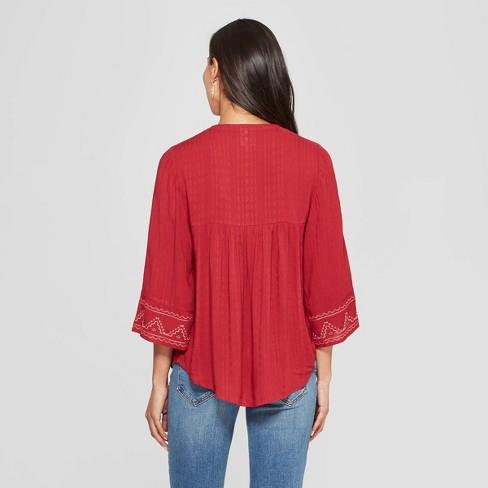 8d6703eea7119 Women s 3 4 Sleeve V-Neck Blouse - Knox Rose™ Red   Target
