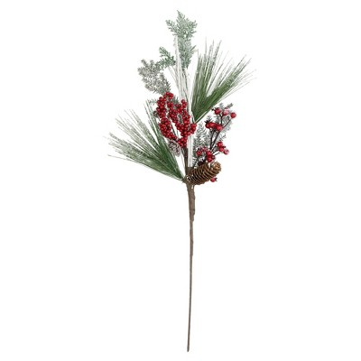 """Northlight 31"""" Green and Red Frosted Artificial Christmas Spray with Berries and Pine Cones"""