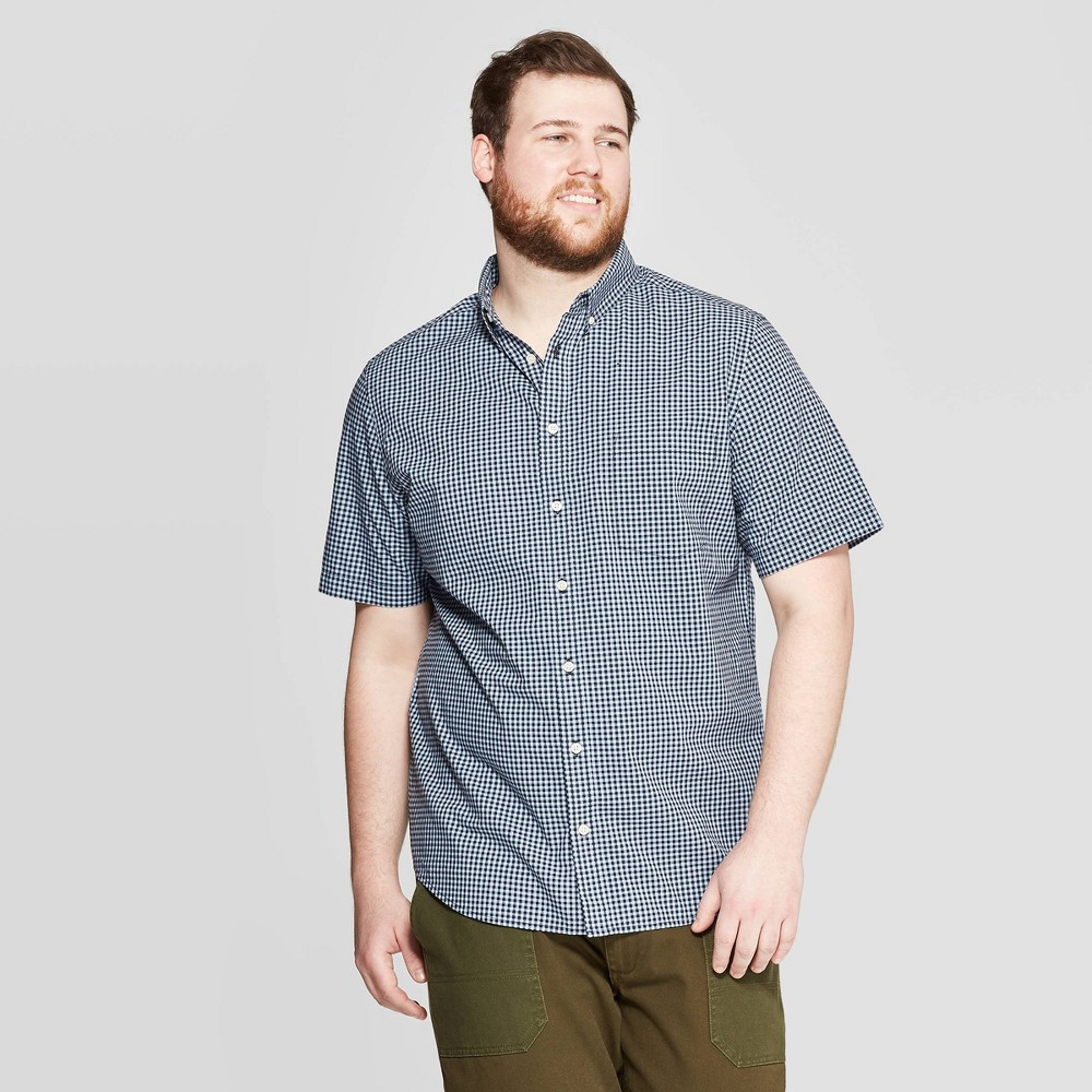 Men's Big & Tall Checkered Standard Fit Short Sleeve Poplin Button-Down Shirt - Goodfellow & Co Breaktime Blue 3XB