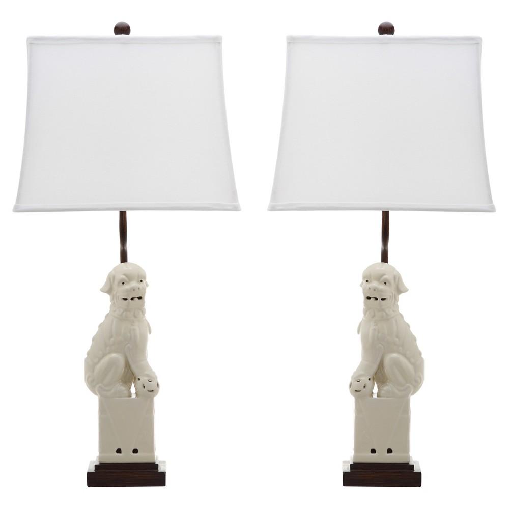 Image of Cream Ceramic Foo Dog Table Lamp Set of 2 - Safavieh, Ivory