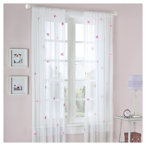 Shelby Flower Applique Sheer Curtain Panel White Pink 52