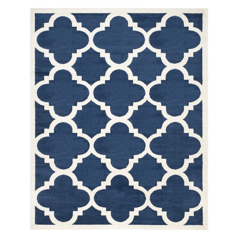 Rectangle 9'x12' Outer Patio Rug - Navy/Beige (Blue/Beige) - Safavieh