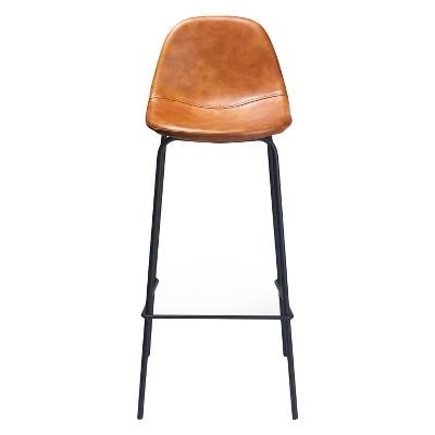 Set of 2 Maxine Modern Upholstered Faux Leather Barstools Honey - Aeon