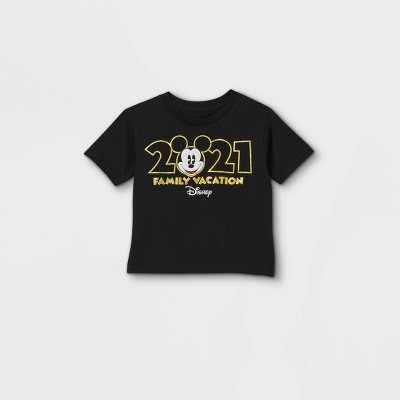 Toddler Disney Mickey Mouse 'Family Vacation 2021' Short Sleeve Graphic T-Shirt - Black