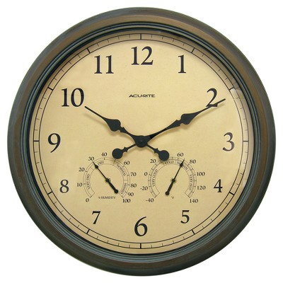 24  Outdoor / Indoor Wall Clock with Thermometer and Humidity - Weathered Bronze Finish - Acurite