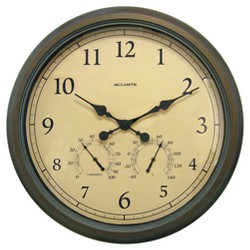 "24"" Outdoor / Indoor Wall Clock with Thermometer and Humidity - Weathered Bronze Finish - Acurite"