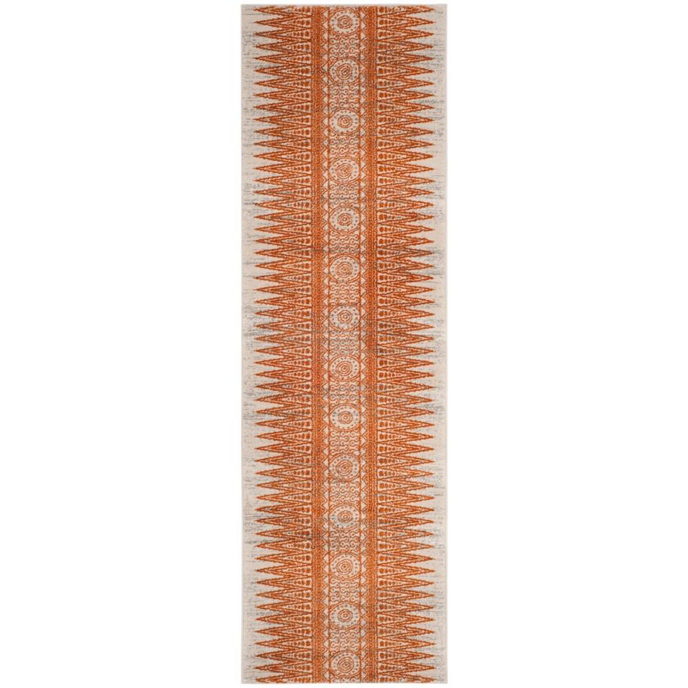 Tribal Design Loomed Runner Rug Ivory/Orange
