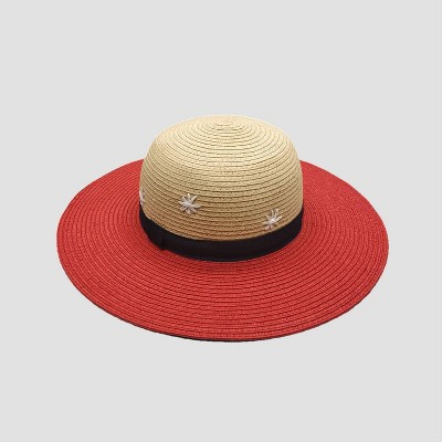 Toddler Girls' Paper Braid Hand Embroidery Floppy Hat - Cat & Jack™ Beige/Red 2T-5T