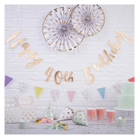 """""""Happy 40th Birthday"""" Bunting Tag Gold - image 1 of 2"""