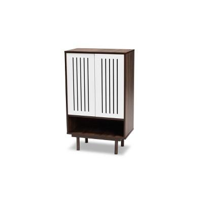 2 Door Meike Two-Tone Wood Shoe Cabinet Walnut/White - Baxton Studio