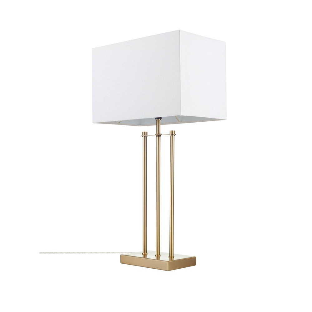 24 34 Soho Table Lamp With Linen Shade White Globe Electric