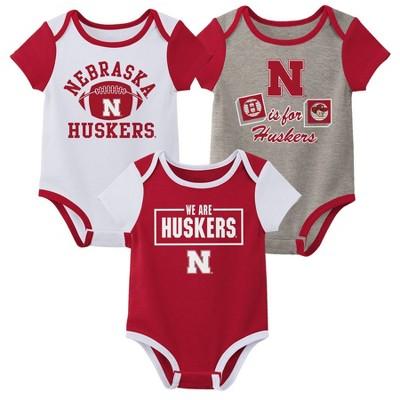 NCAA Nebraska Cornhuskers Baby Boys' Short Sleeve 3pc Bodysuit Set