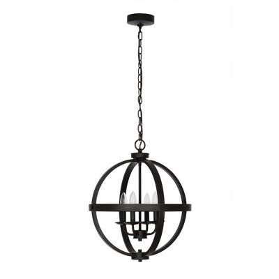 """18.25"""" 4-Light LED Metal Orb Chandelier Black - Cresswell Lighting"""