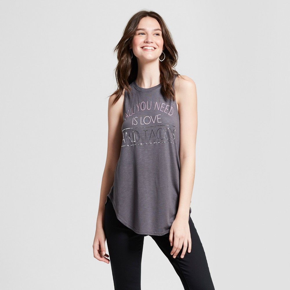 Women's All You Need is Love and Tacos Graphic Tank Top - Zoe+Liv (Juniors') Charcoal L, Gray